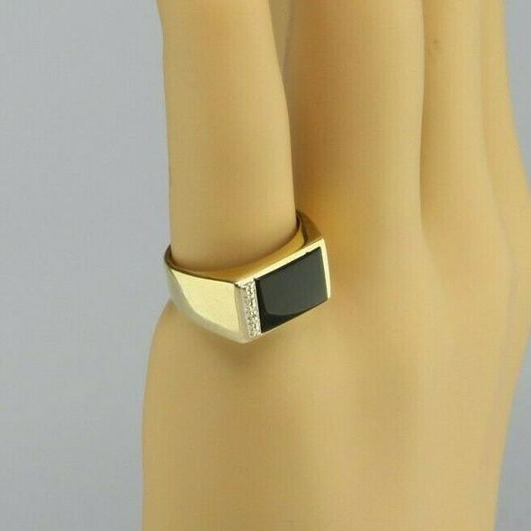 Men's Vintage 10K Yellow Gold Black Onyx and Diamond Ring, Ring Size 7.5