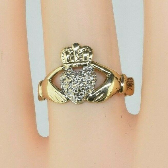 10K Yellow Gold Claddagh Ring with Diamond Chips Size 5