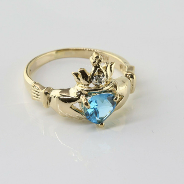 14K Yellow Gold Claddagh Ring with Blue Topaz Heart Size 6.5
