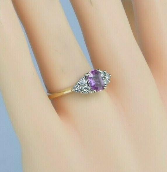 14K Yellow Gold Pink Sapphire and Diamond Ring Size 7 Circa 1970