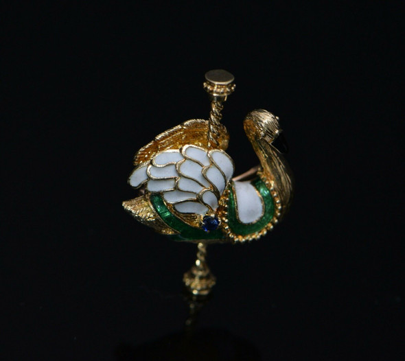 14k Yellow Gold Carousel Swan Pin with Enameled Sections, 1979 Franklin Mint