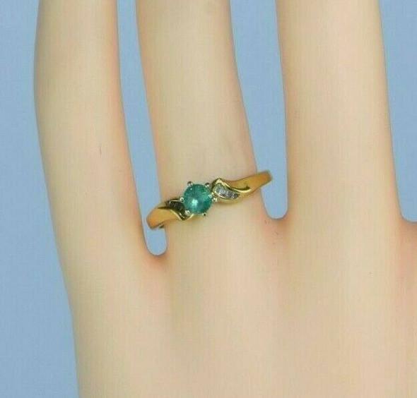 18K Yellow Gold Emerald and Diamond Ring Size 7.25 Circa 1970