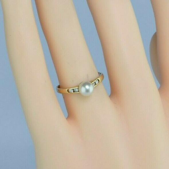 14K Yellow Gold Pearl and Diamond Ring Size 7 Circa 1970