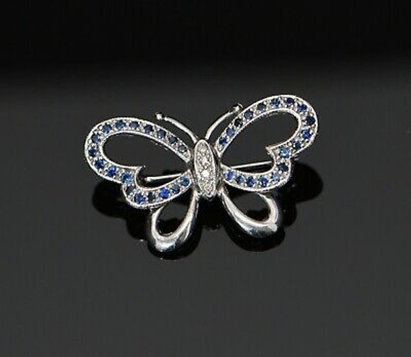 14K White Gold Diamond and Sapphire Butterfly Pin, Circa 1960