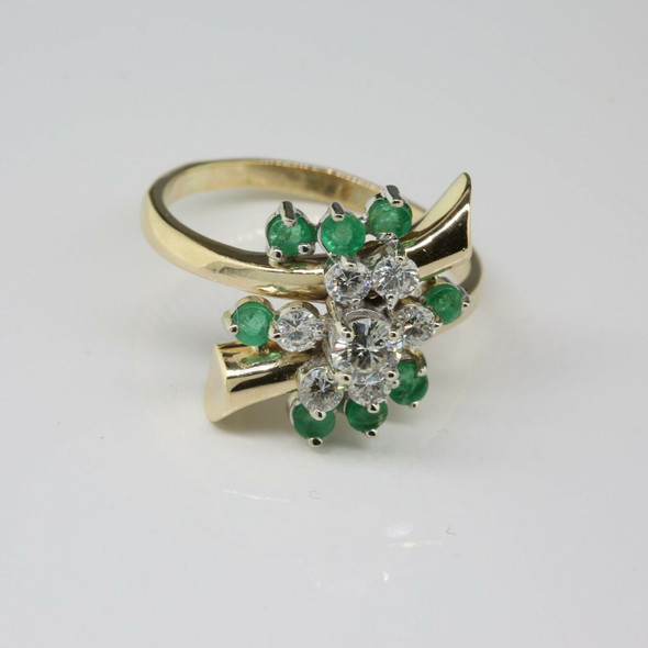 Vintage 14K Yellow Gold Emerald and Diamond Cluster Cocktail Ring Size 10 Circa