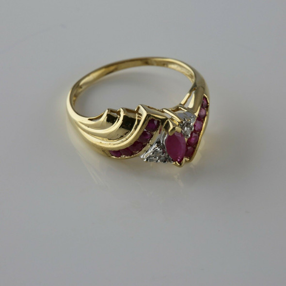 10K YG Ruby and Diamond Cocktail Ring Bypass Design Ring Size 7.5 Circa 1980