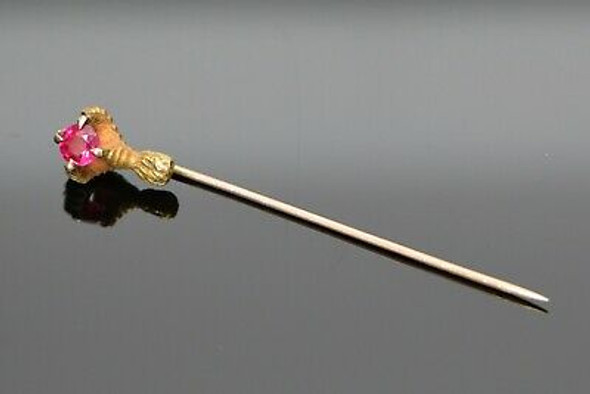 10K Yellow Gold Victorian Stick Pin, Eagle Talon Clutching Red Faceted Spinel