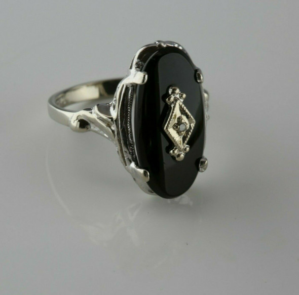 Antique 10K White Gold Black Onyx and Diamond Ring Size 5.25 Circa 1950