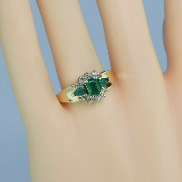 Vintage 14K Yellow Gold Chatham Emerald and Diamond Ring Size 9 Circa 1965