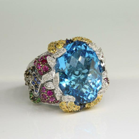 14K White Gold Diamond and Multicolor Stone Statement Ring Size 7.25 Circa 1990
