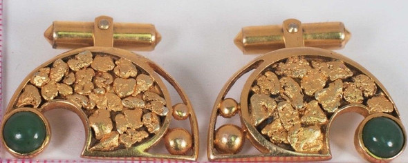 10K Yellow Gold Cufflinks with Natural Gold and Jade, Circa 1940