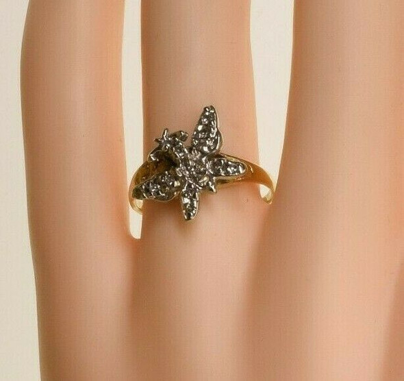 14K White and Yellow Gold Butterfly Diamond Ring Size 7.75 Circa 1960