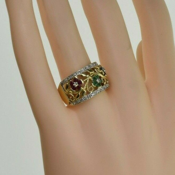 14K Floral Band with Ruby Sapphire Emerald and Diamonds Size 8