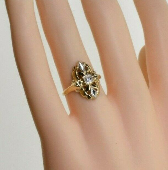 14K Yellow Gold Diamond Ring with White Gold Accents Size 5.75 Circa 1960