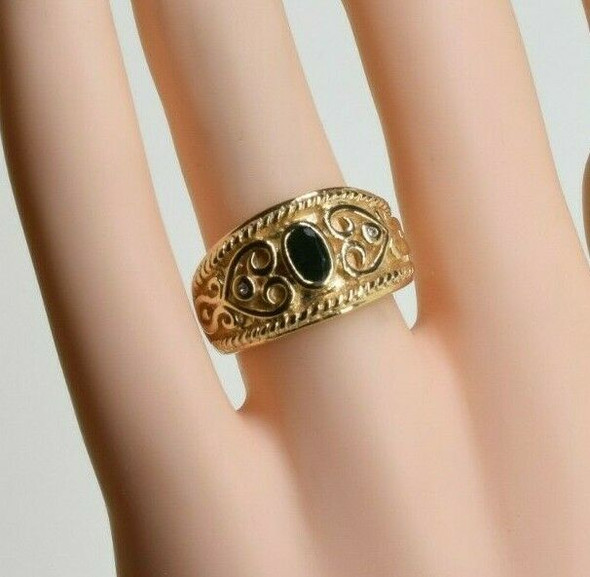 14K Yellow Gold Emerald and Diamond Ring Size 6.25 Circa 1980