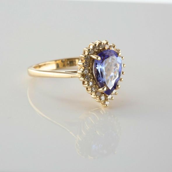 14K Yellow Gold Tanzanite Pear and Diamond Halo Ring Size 6 Circa 1980
