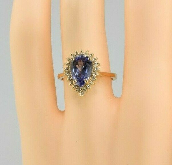 14K Yellow Gold Tanzanite Pear and Diamond Halo Ring Size 6 Circa 1980