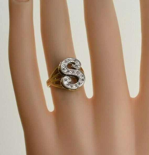 14K Yellow Gold Diamond S Monogram Ring Size 5.25 Circa 1980