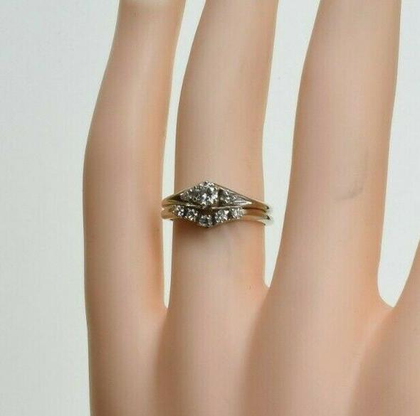 14K White Gold Engagement Ring Set Size 5 Circa 1970
