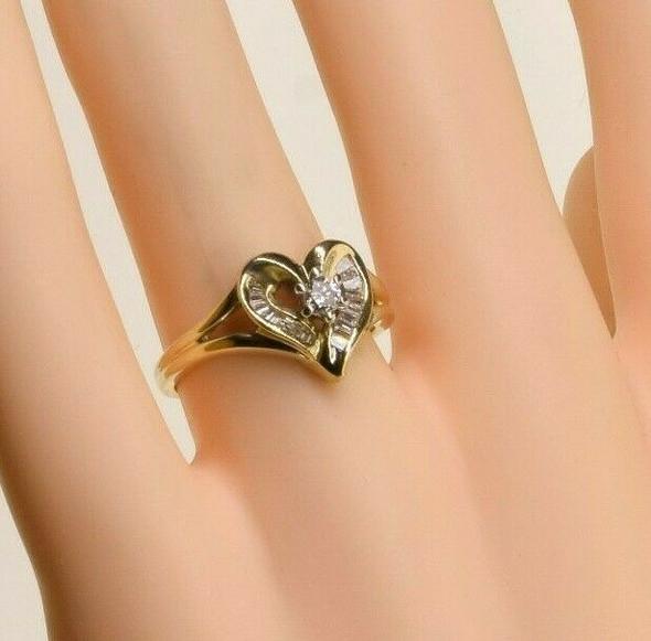 14K Yellow Gold 1/3ct Diamond Heart Ring Size 6.5