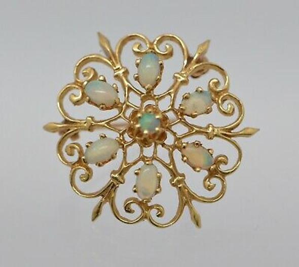 14K Yellow Gold 7 Opal Round filigree Pin /Pendant, Circa 1960