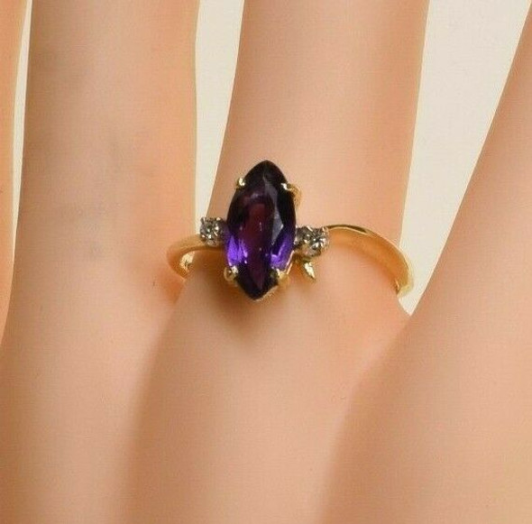 14K Yellow Gold Amethyst and Diamond Accent Ring Size 9 Circa 1960