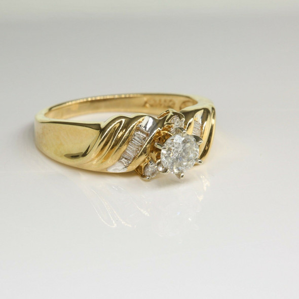 14K Yellow Gold 1/2ct tw Diamond Engagement Ring Size 7.25 Circa 1970