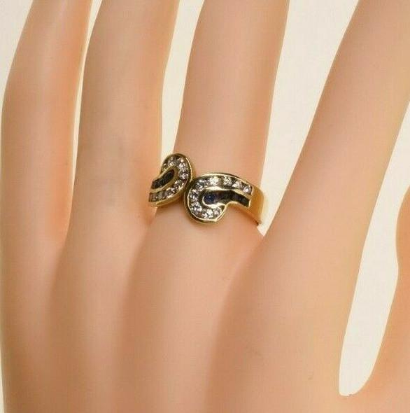 14K Yellow Gold 1.5ct Sapphire and Diamond Ring Size 8.25 Circa 1990