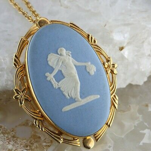 "Vintage Wedgewood Pin Pendant Necklace with 26"" Chain Gold Filled Circa 1960"