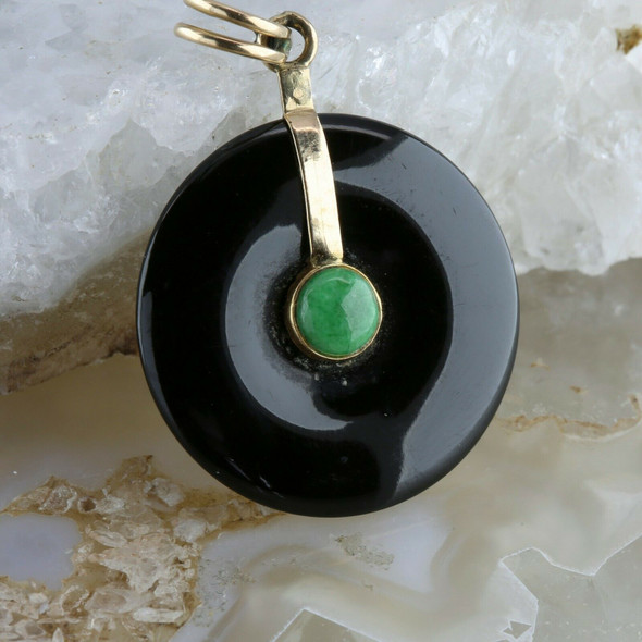 14K Yellow Gold Black and Green Jade Fitted Pi Stone Pendant Circa 1960