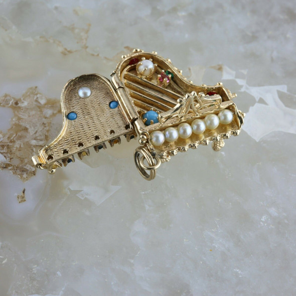 Vintage 14K Yellow Gold Piano Locket Charm Pendant Stone Encrusted Circa 1950