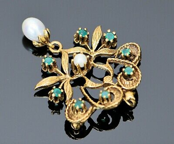 14K Yellow Gold Floral Emerald and Pearl Set Brooch, Circa 1950