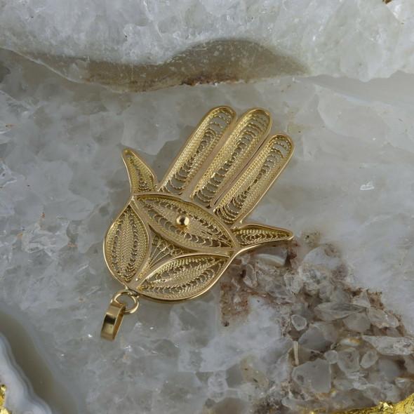 18K Yellow Gold Filigree Hamsa Hand Pendant with Eye Center