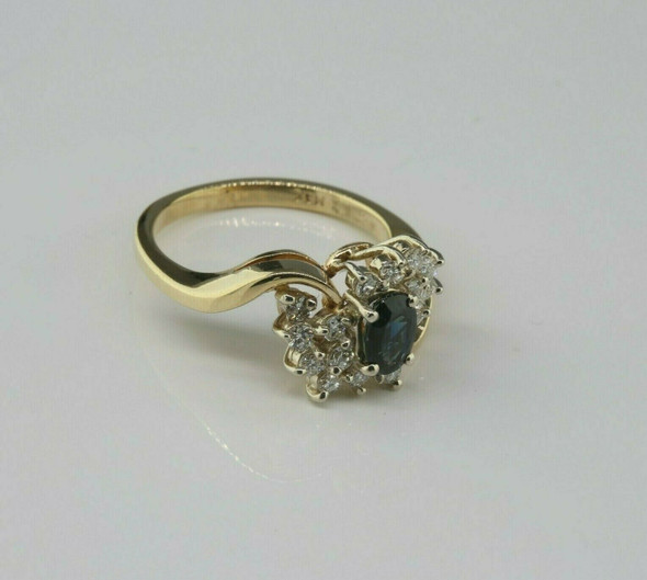 14K Yellow Gold Sapphire and Diamond Cocktail Ring Size 6 Circa 1970