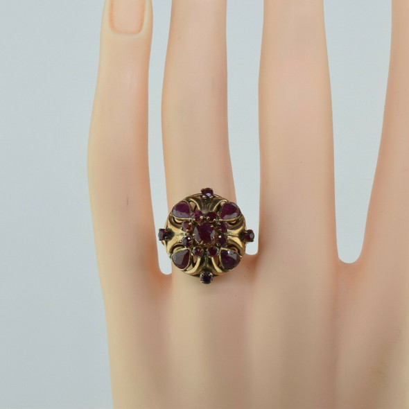 Antique 14K Yellow Gold Ruby Dome Ring Circa 1940 Size 7
