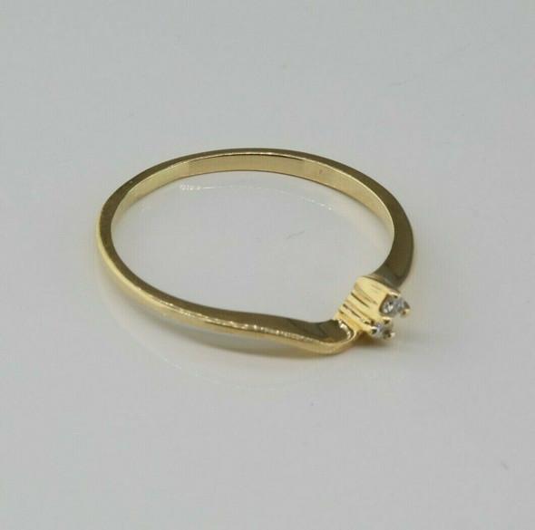 14K Yellow Gold Small Diamond Ring Size 6.75 Circa 1970