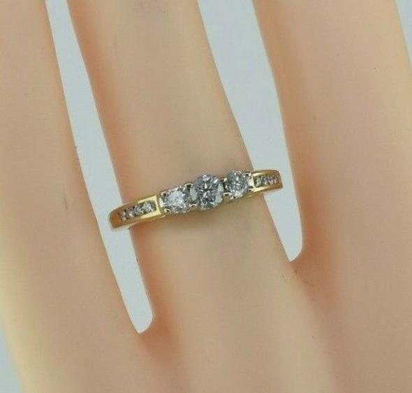 14K Yellow Gold Three Stone Past Present & Future Diamond Ring Size 5.25