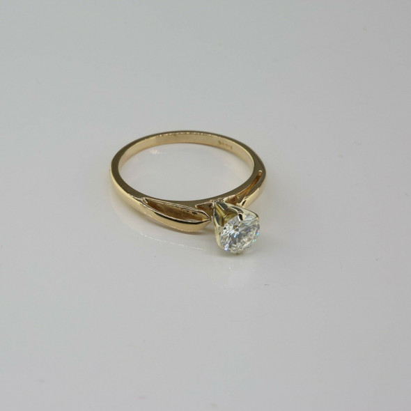 14K Yellow Gold 1/2 ct Diamond Solitaire Ring Size 4.25 Circa 1970