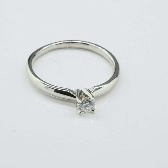 14K White Gold .30ct Diamond Solitaire Ring, H SI Size 8.25 Circa 1970