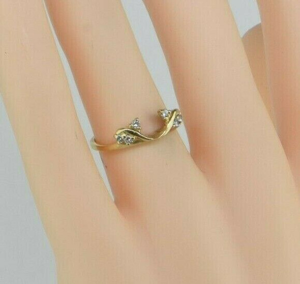 14K Yellow Gold Diamond Solitaire Ring Enhancer Size 5.5 Circa 1970