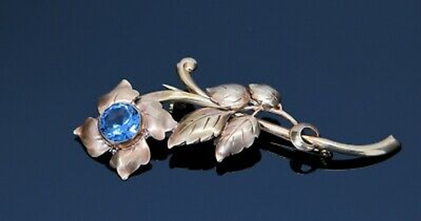 14K Yellow/Rose Gold Flower Brooch with Blue Zircon, Circa 1940
