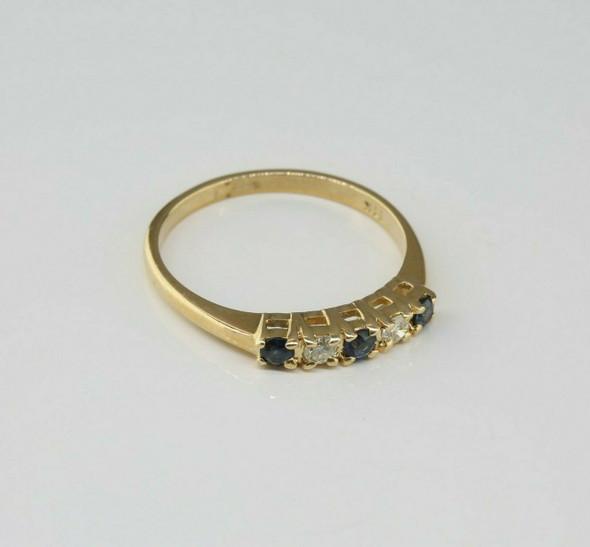 Vintage 14K Yellow Gold Sapphire and Diamond Band Size 6.25 Circa 1960