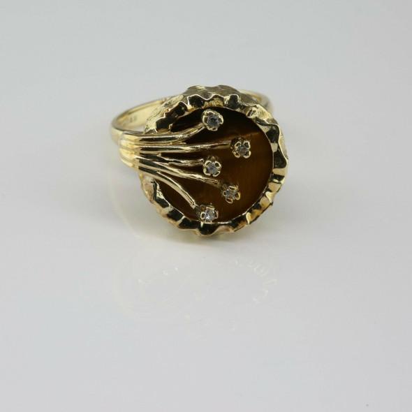 14K Yellow Gold Tiger Eye and Diamond Ring Size 6 Circa 1970
