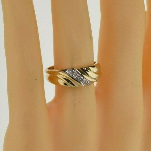 Vintage 14K Yellow Gold Diamond Ring Size 10.75 Circa 1960