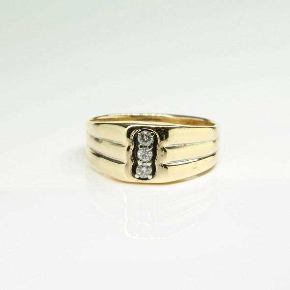 Vintage 14K Yellow Gold Diamond Three Stone Ring Size 10 Circa 1950