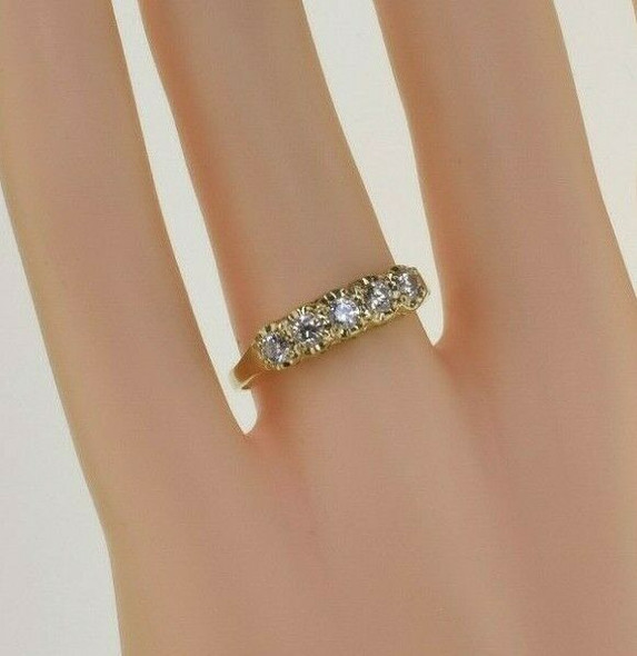 Vintage 14K Yellow Gold Five Stone Cubic Zirconia Ring Size 8 Circa 1980