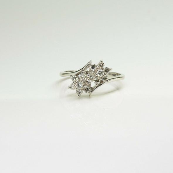 Vintage 14K White Gold Diamond Cocktail Ring Size 6.5 Circa 1960