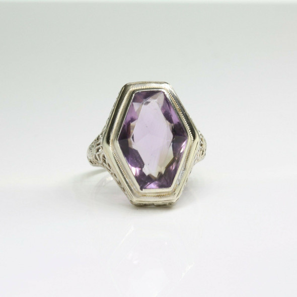 Antique 14K White Gold Amethyst Filigree Deco Ring Size 8 Circa 1930