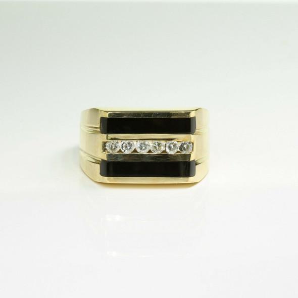 Vintage 14K Yellow Gold Black Onyx and Diamond Ring Size 11 Circa 1960