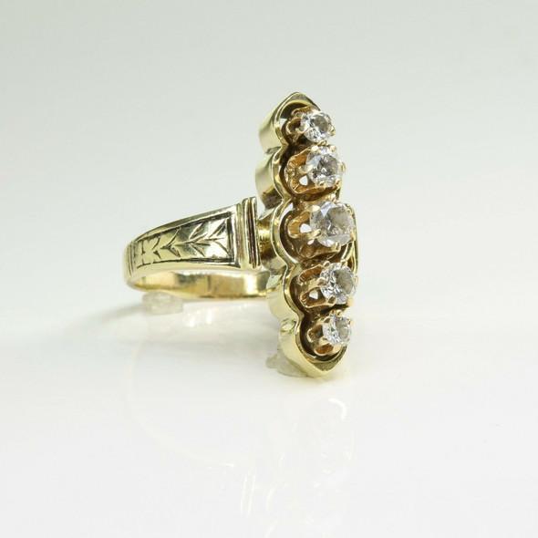Vintage 14K Yellow Gold Retro-Victorian Diamond Ring Size 7 Circa 1950